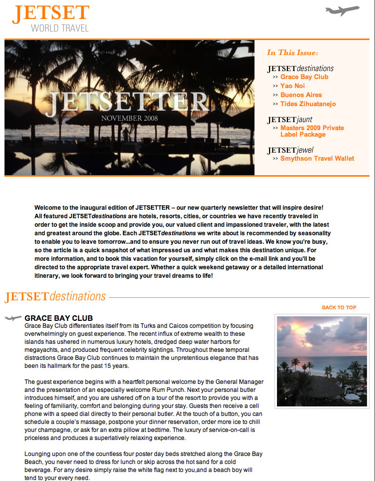 Jet Set Worl Travel Email Marketing 2