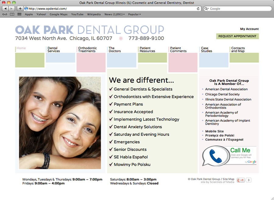 Oak Park Dental Website #1