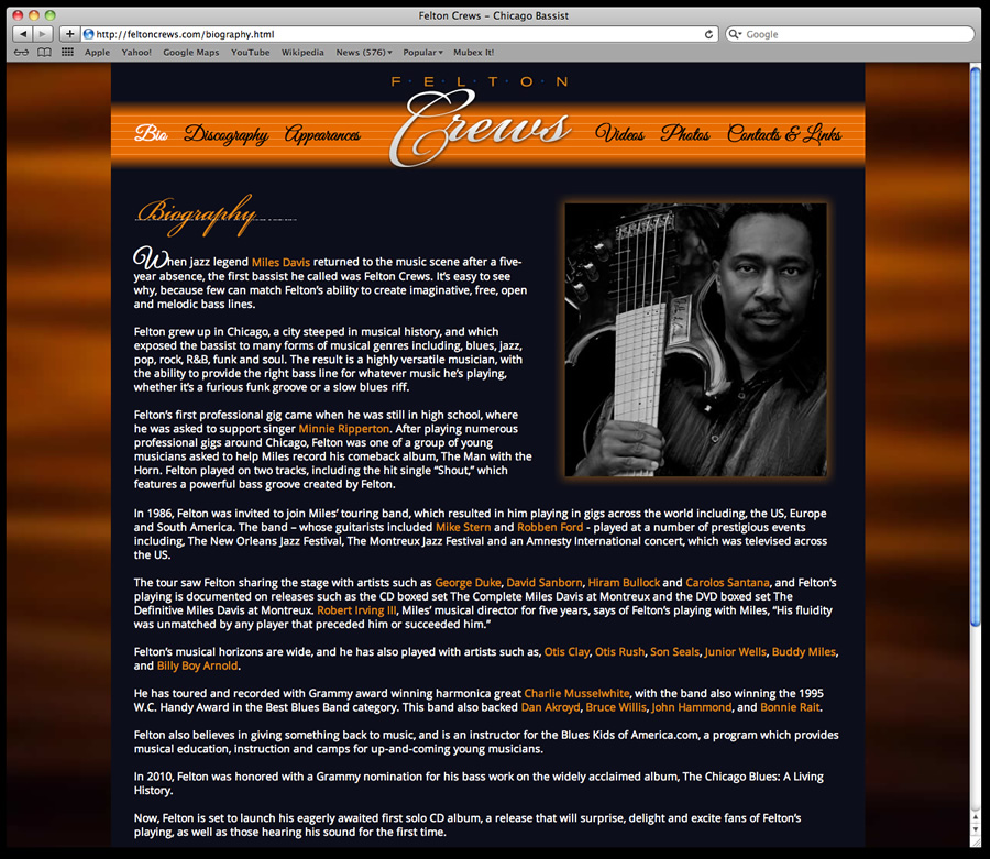 Felton Crews Website Design 2
