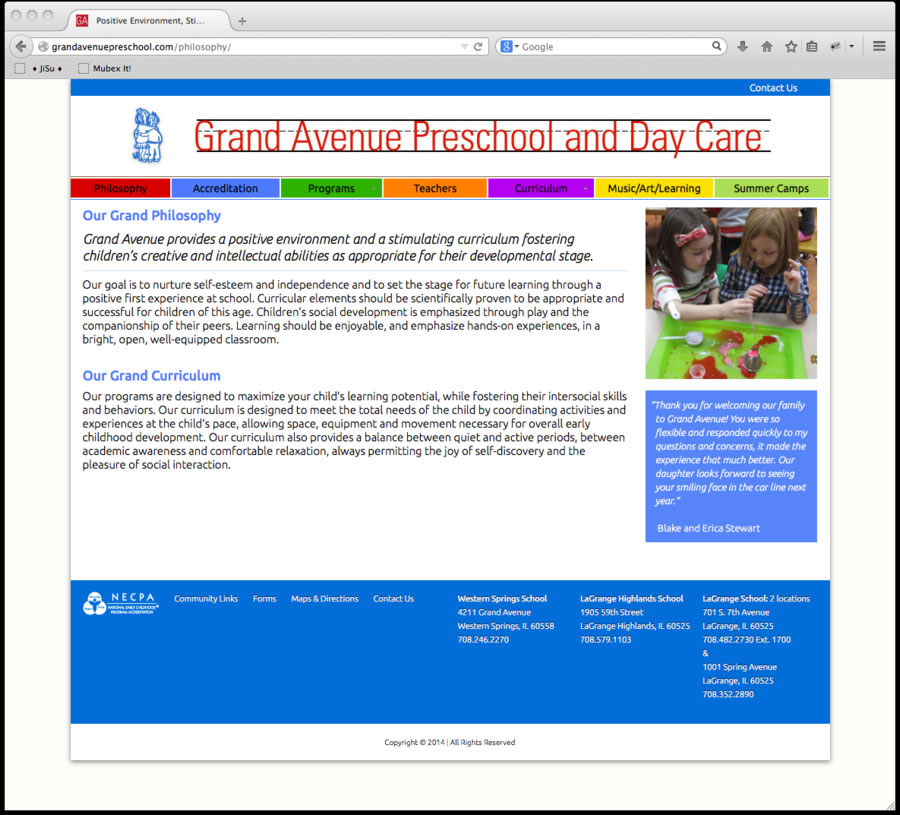 Grand Avenue Preschool Website 2