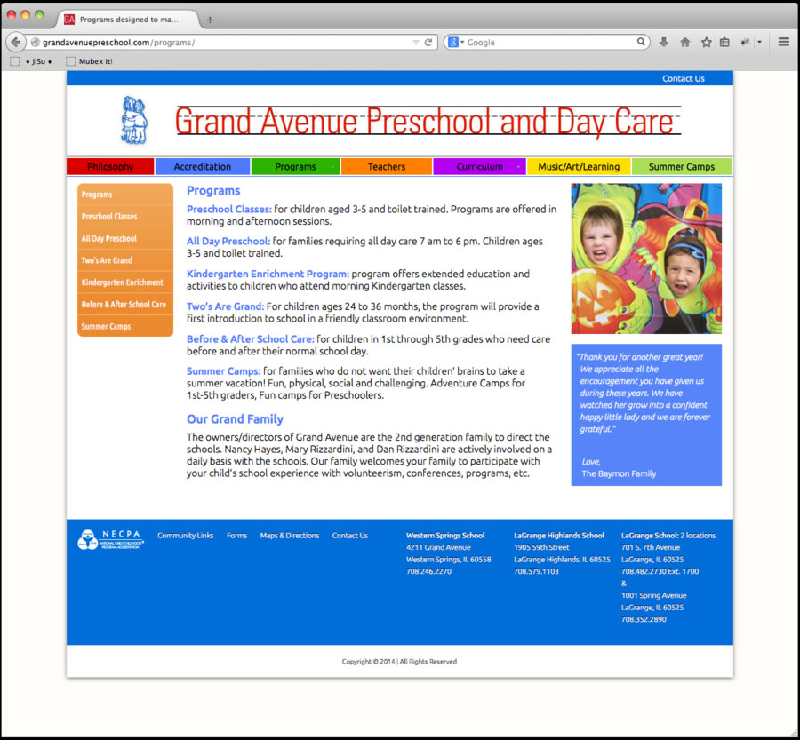 Grand Avenue Preschool Website 3