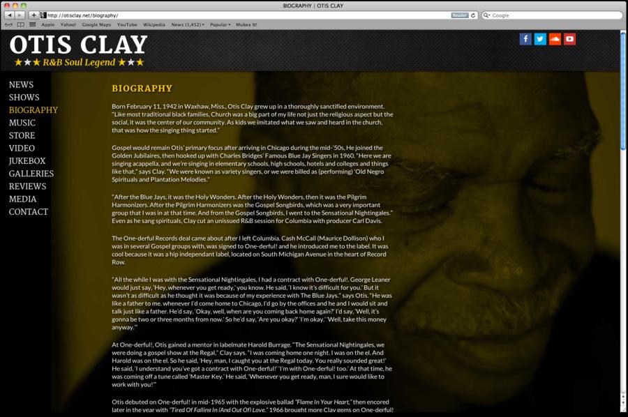 Otis Clay Website Design 02